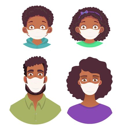 African human face in mask. Icon set vector illustration