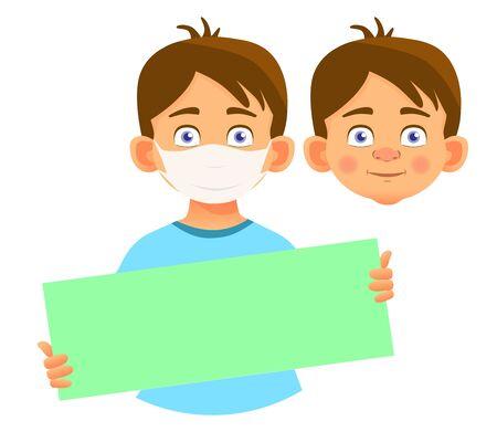 Boy in mask holding blank poster vector illustration Ilustração