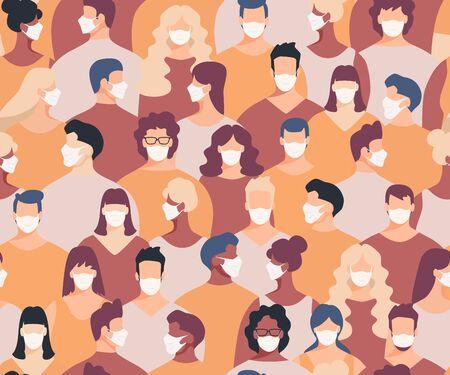 Masked crowd seamless pattern. Crowd of people seamless background. Epidemic concept Ilustração