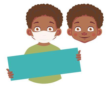African boy in mask holding blank poster Ilustração