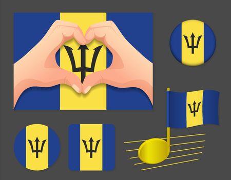 Barbados flag icon. National flag of Barbados vector illustration. Ilustração