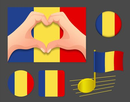 Chad flag icon. National flag of Chad vector illustration. Vettoriali