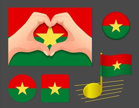 Burkina Faso flag icon. National flag of Burkina Faso vector illustration.