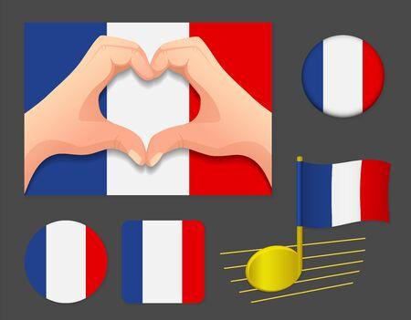 France flag icon. National flag of France vector illustration.