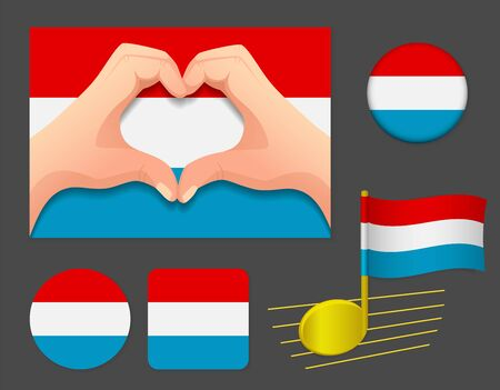 Luxembourg flag icon. National flag of Luxembourg vector illustration.