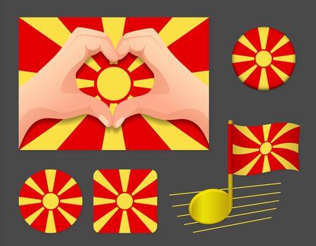 Macedonia flag icon. National flag of Macedonia vector illustration.