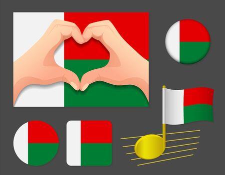 Madagascar flag icon. National flag of Madagascar vector illustration. Ilustração