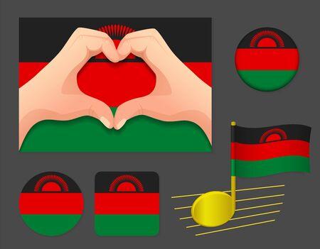 Malawi flag icon. National flag of Malawi vector illustration. Ilustração