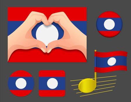 Laos flag icon. National flag of Laos vector illustration. Ilustração