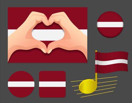 Latvia flag icon. National flag of Latvia vector illustration. Ilustração