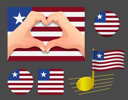 Liberia flag icon. National flag of Liberia vector illustration. Ilustração