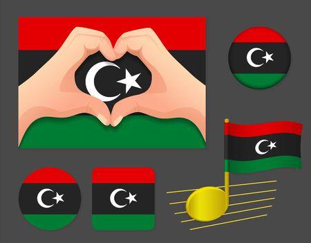 Libya flag icon. National flag of Libya vector illustration.