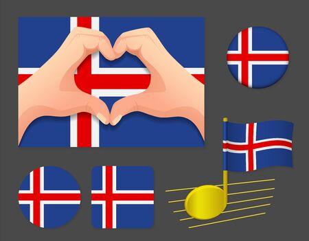 Iceland flag icon. National flag of Iceland vector illustration. Ilustração