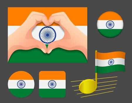India flag icon. National flag of India vector illustration.