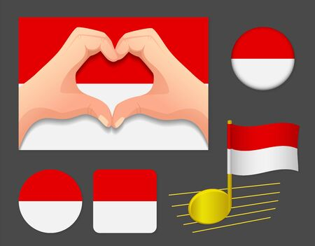 Indonesia flag icon. National flag of Indonesia vector illustration.