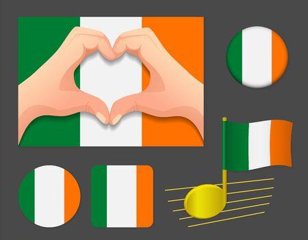 Ireland flag icon. National flag of Ireland vector illustration. Ilustração
