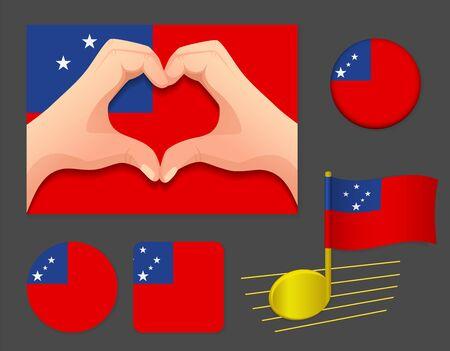 Samoa flag icon. National flag of Samoa vector illustration.