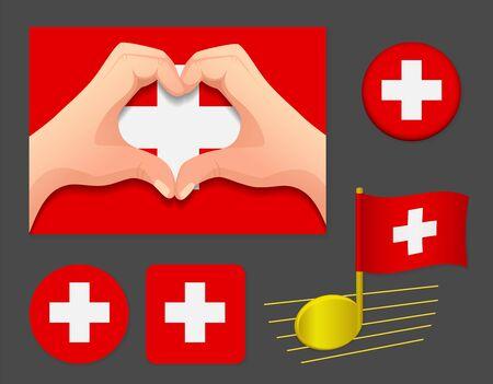 Switzerland flag icon. National flag of Switzerland vector illustration. Ilustração