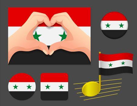 Syria flag icon. National flag of Syria vector illustration. Ilustração