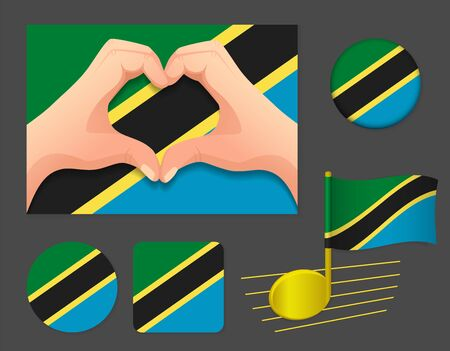 Tanzania flag icon. National flag of Tanzania vector illustration.