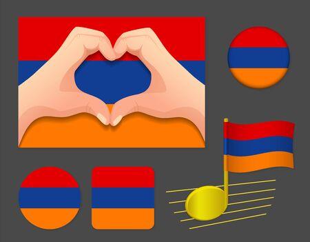 Armenia flag icon. National flag of Armenia vector illustration. Ilustração