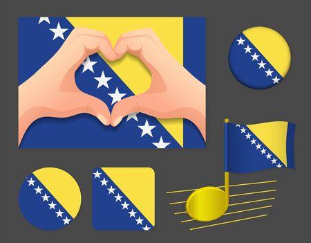 Bosnia and Herzegovina flag icon. National flag of Bosnia and Herzegovina vector illustration. Ilustração