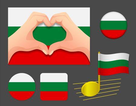 Bulgaria flag icon. National flag of Bulgaria vector illustration.