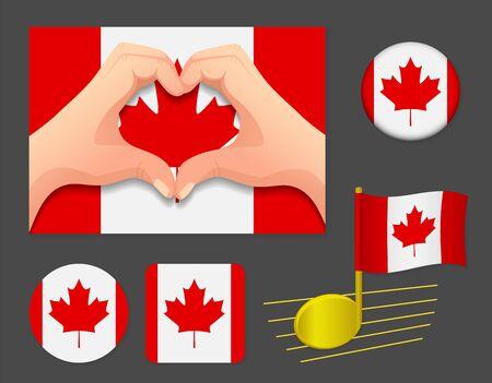 Canada flag icon. National flag of Canada vector illustration.