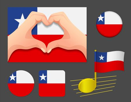 Chile flag icon. National flag of Chile vector illustration.
