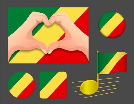 Republic of the Congo flag icon. National flag of Republic of the Congo vector illustration.