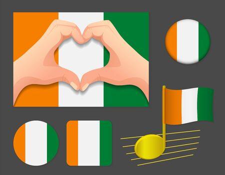 Cote d'ivoire / Ivory Coast flag icon. National flag of Cote d'ivoire / Ivory Coast vector illustration.