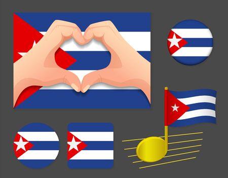 Cuba flag icon. National flag of Cuba vector illustration.