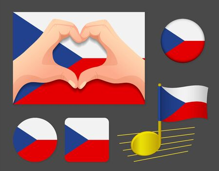 Czech Republic flag icon. National flag of Czech Republic vector illustration.
