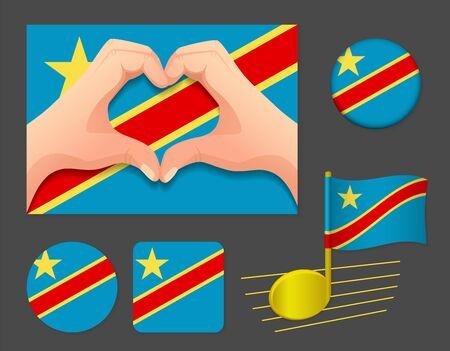 Democratic Republic of the Congo flag icon. National flag of Democratic Republic of the Congo vector illustration. Ilustração