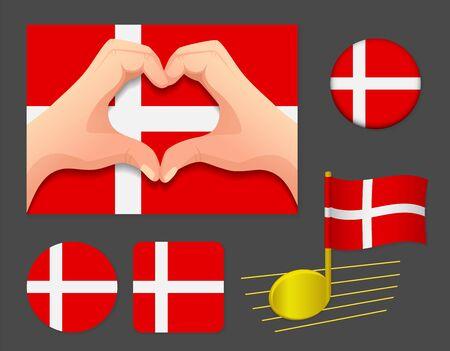Denmark flag icon. National flag of Denmark vector illustration.
