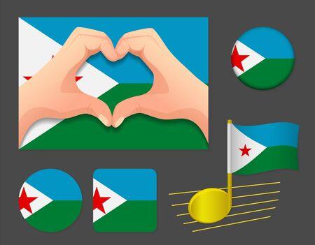 Djibouti flag icon. National flag of Djibouti vector illustration.