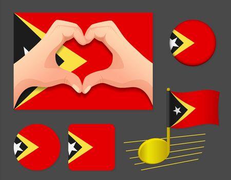 East Timor flag icon. Timor-leste flag icon. National flag of East Timor vector illustration. Ilustração
