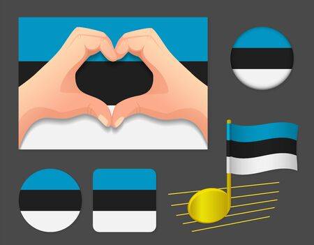 Estonia flag icon. National flag of Estonia vector illustration.