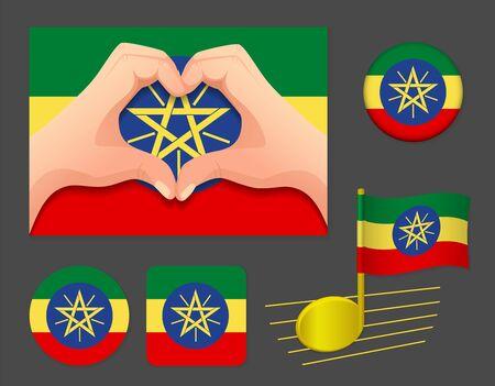 Ethiopia flag icon. National flag of Ethiopia vector illustration. Ilustração