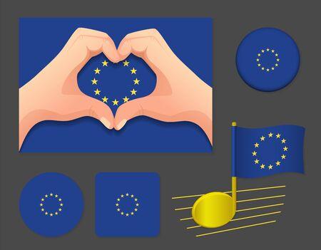 EU flag icon. Europe flag vector illustration.