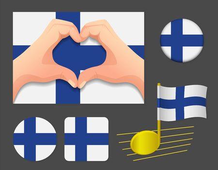 Finland flag icon. National flag of Finland vector illustration. Ilustração