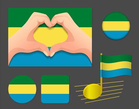 Gabon flag icon. National flag of Gabon vector illustration.