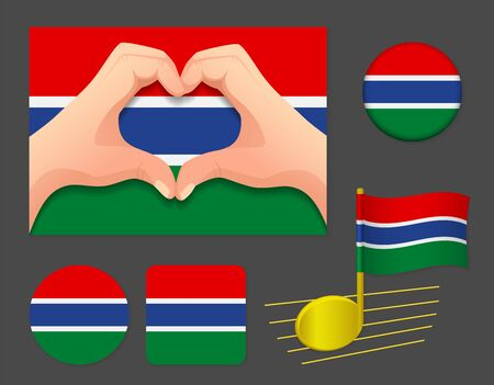 Gambia flag icon. National flag of Gambia vector illustration. Ilustração