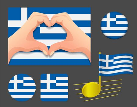 Greece flag icon. National flag of Greece vector illustration.