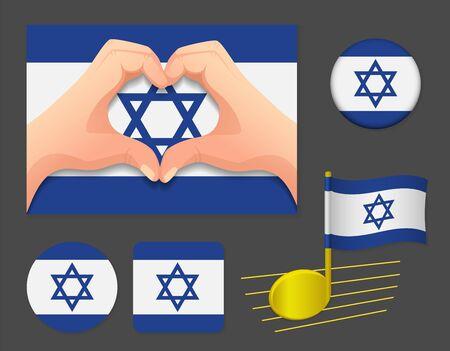Israel flag icon. National flag of Israel vector illustration.