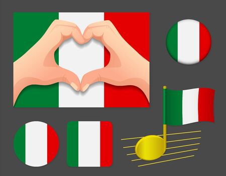 Italy flag icon. National flag of Italy vector illustration.