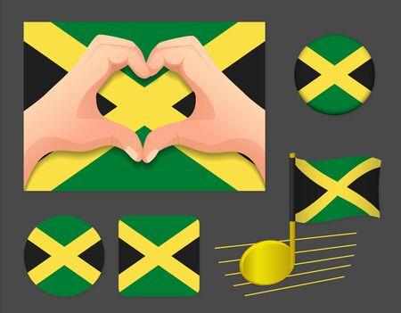 Jamaica flag icon. National flag of Jamaica vector illustration.