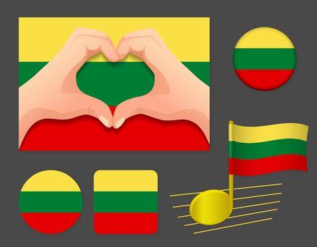 Lithuania flag icon. National flag of Lithuania vector illustration.