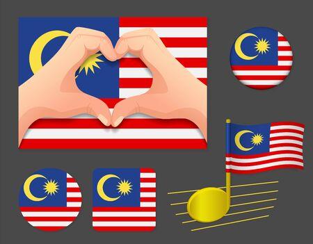 Malaysia flag icon. National flag of Malaysia vector illustration. Ilustração