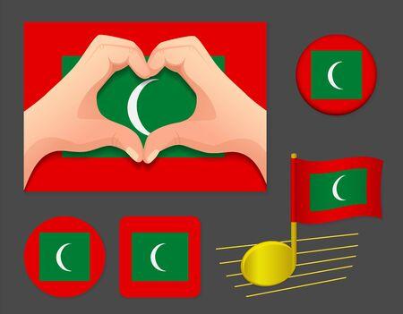 Maldives flag icon. National flag of Maldives vector illustration.